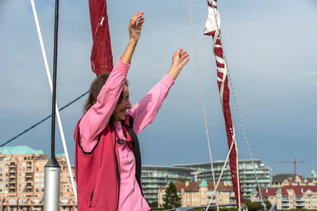 Jeanne Socrates celebrates the end of her epic journey. Picture: James Holkko